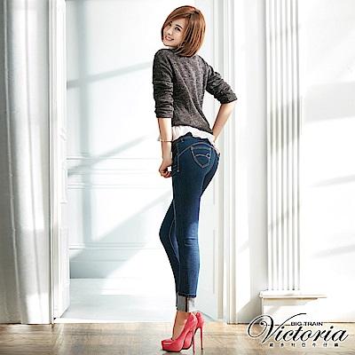 Victoria 中腰提臀燙鑽小直筒褲-女-中藍