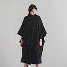 旅途原品_靈波_原創設計色織肌理提花斗篷外套-深藍