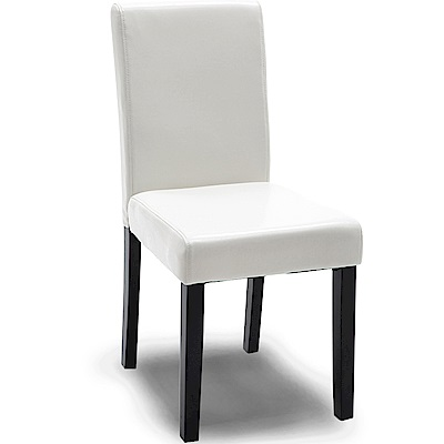 【AT HOME】現代簡約白皮面實木腳餐椅/休閒椅(42*54*91cm)羅拉
