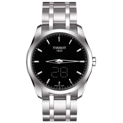 TISSOT Couturier 系列 Date時尚腕錶-黑/39mm T0354461105100
