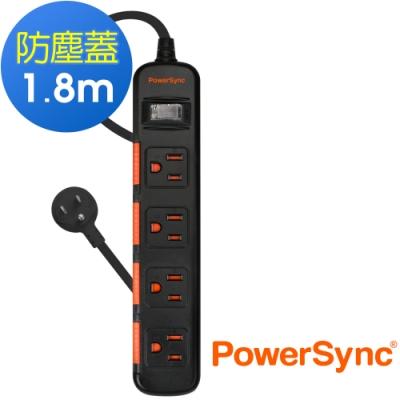 PowerSync 群加 3孔1開4插 滑蓋防塵防雷擊延長線/1.8米(TS4D0018)