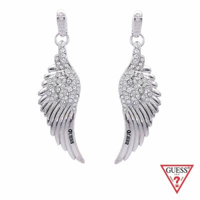 GUESS-配件-天使之翼垂墜耳環-銀