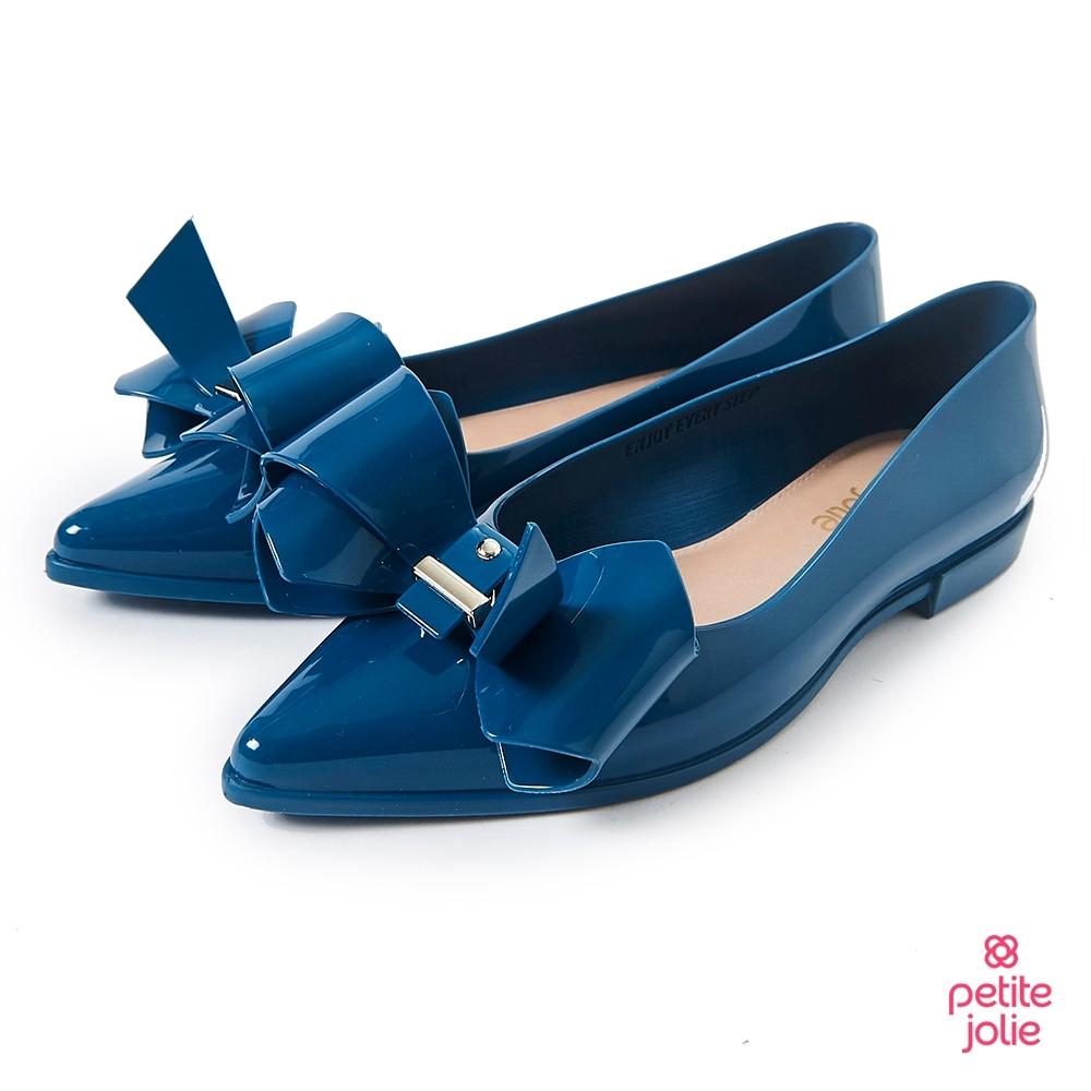 Petite Jolie--立體蝴蝶結尖頭娃娃鞋-湛藍