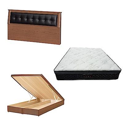 綠活居 亞凱6尺雙人加大床台三式組合(床頭片+後掀床底+正三線乳膠獨立筒)五色可選