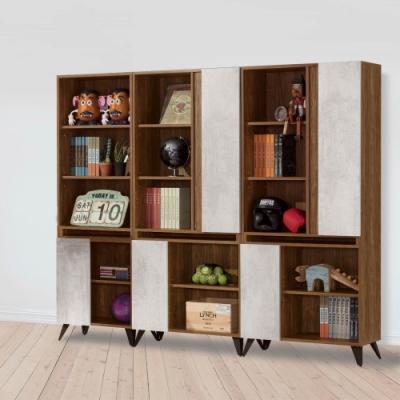 D&T 德泰傢俱 DINO清水模風格7.3尺組合書櫃-220.5x32x181cm