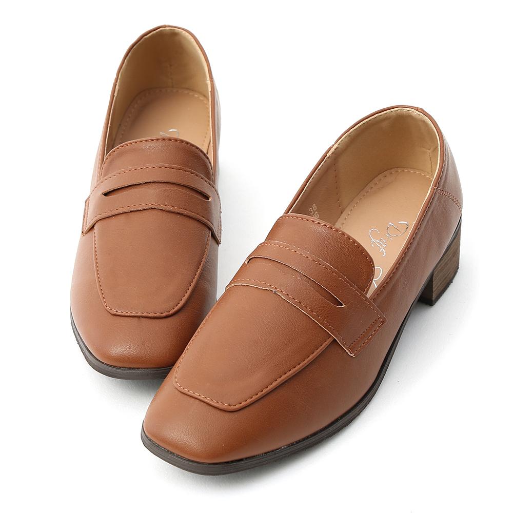 D+AF 紳士格調.經典款方頭低跟樂福鞋*棕