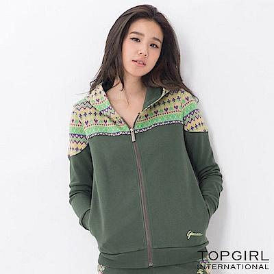 【TOP GIRL】提花拼接連帽外套 - 深綠