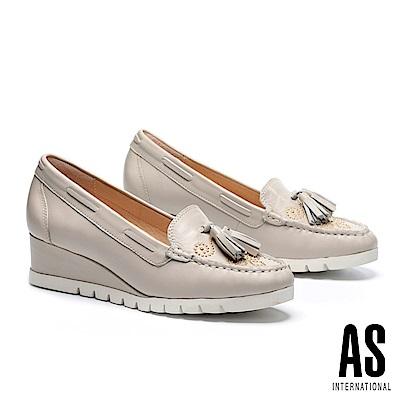 高跟鞋 AS 流蘇鉚釘羊皮莫卡辛楔型高跟鞋-米