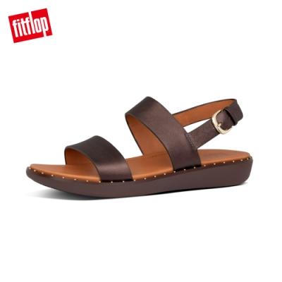 FitFlop BARRA LEATHER BACK-STRAP SANDALS 全皮革後帶涼鞋-女(金屬巧克力色)