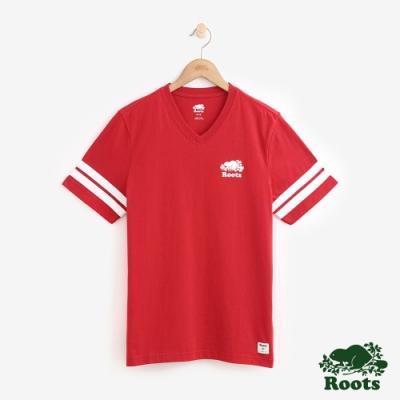 男裝Roots 袖口雙條紋V領短袖T恤-紅色