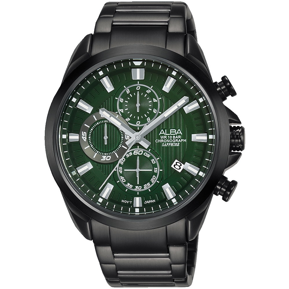 ALBA雅柏 台灣限定款三眼計時手錶(AM3819X1)-黑x綠/43mm