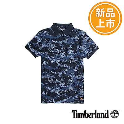 Timberland 男款藍色迷彩AOP短袖POLO衫