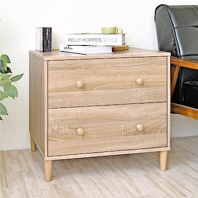 《HOPMA》DIY巧收和風實木腳二抽斗櫃-寬60.5 x深40.5 x高54cm