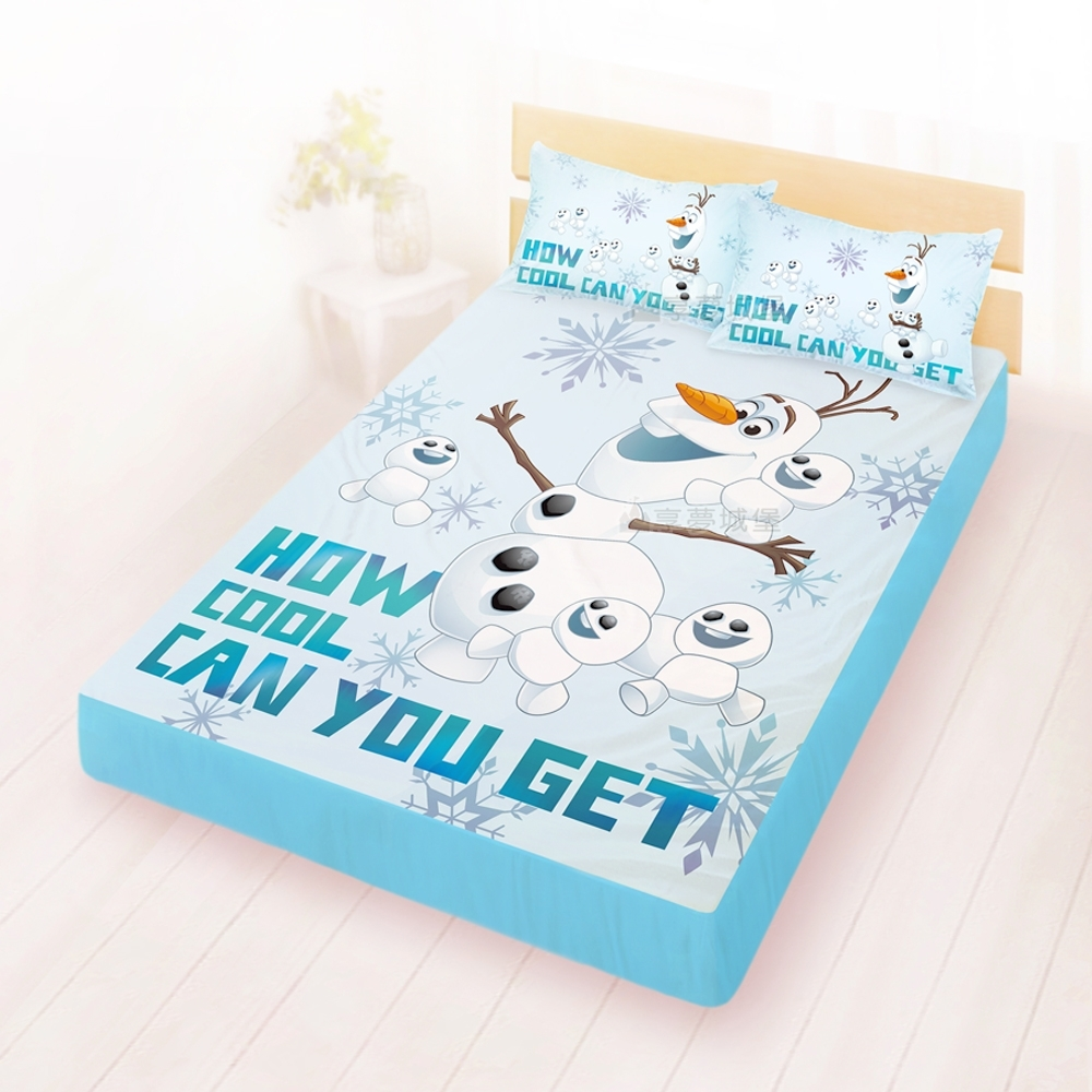 享夢城堡 雙人床包枕套5x6.2三件組-冰雪奇緣FROZEN迪士尼 雪寶與小雪人-藍