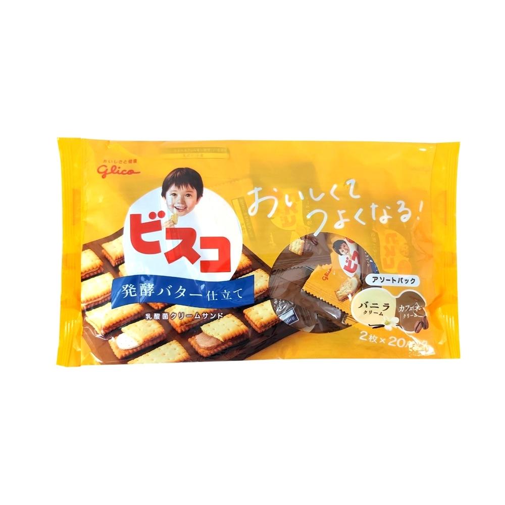Glico格力高 奶油夾心餅乾家庭號-香草&咖啡歐蕾(164.4g)