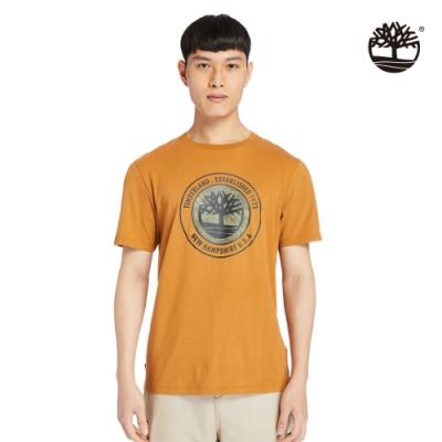 Timberland 男款小麥色品牌故事有機棉短袖T恤 A24Y1