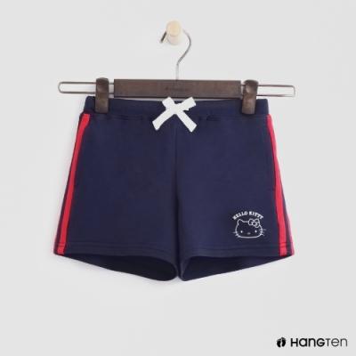 Hang Ten -童裝 - Sanrio-綁帶小logo條紋短褲 - 藍