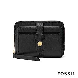 FOSSIL FIONA 真皮系列拉鍊零錢短夾-黑色