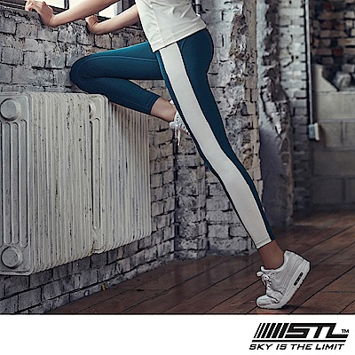 STL legging 9 韓 女 高腰側邊條運動機能拉提褲 高調午藍