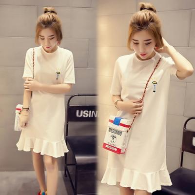 【韓國K.W.】(預購)渡假氣息圖案連身洋裝-2色