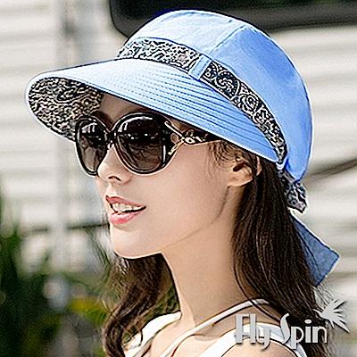 FLYSPIN 女款全棉水兵布寬眉淑女遮陽南瓜造型帽