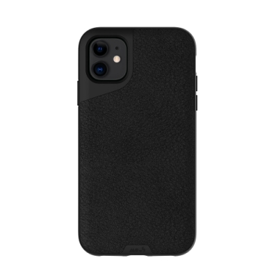 Mous Contour iPhone 11 天然材質防摔保護殼-墨黑皮革