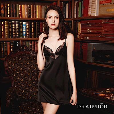 性感睡衣 DRAIMIOR絲滑交叉露背吊帶睡裙。黑色 久慕雅黛
