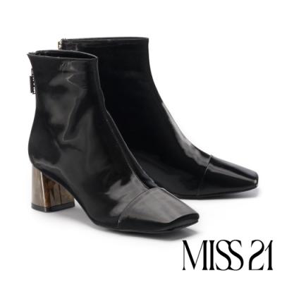 短靴 MISS 21 都市摩登漸層琥珀跟造型方頭粗跟短靴-黑