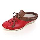 (女)Ponic&Co美國加州環保防水洞洞半包式拖鞋-紅色