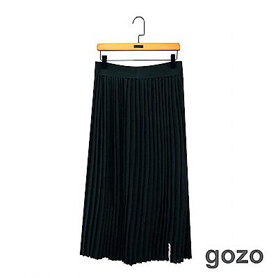 gozo 經典百搭標語繡標素色百褶裙(黑色)
