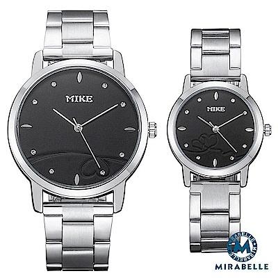 Mirabelle 紅線情緣 點鑽不鏽鋼男女對錶 黑面39+27mm