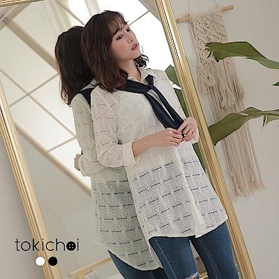 東京著衣-率性陽光撞色披肩綁帶蕾絲襯衫上衣-S.M(共兩色)