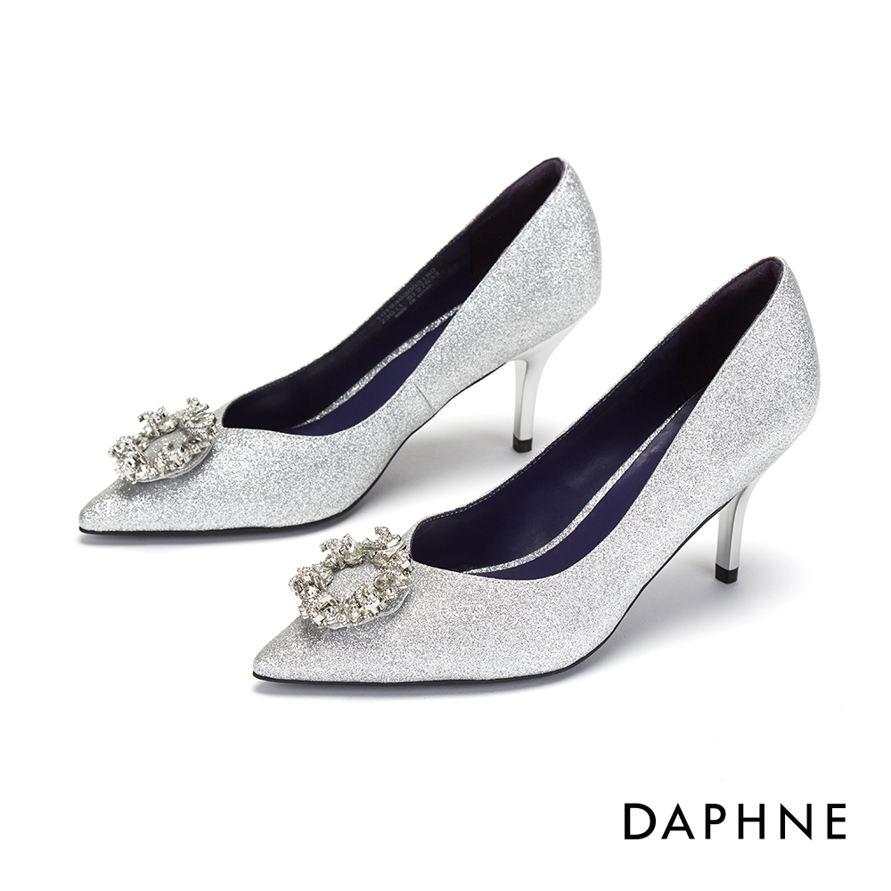 達芙妮DAPHNE 高跟鞋-優雅環形鑽飾尖頭高跟鞋-銀