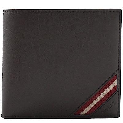BALLY 素面牛皮經典紅白紅織帶零錢短夾(深咖)