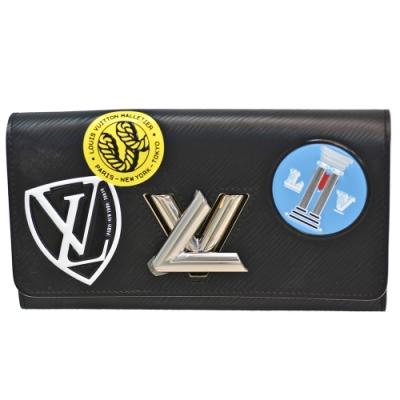 LOUIS VUITTON M62008 Twist系列徽章造型銀色金屬轉釦長夾(黑)