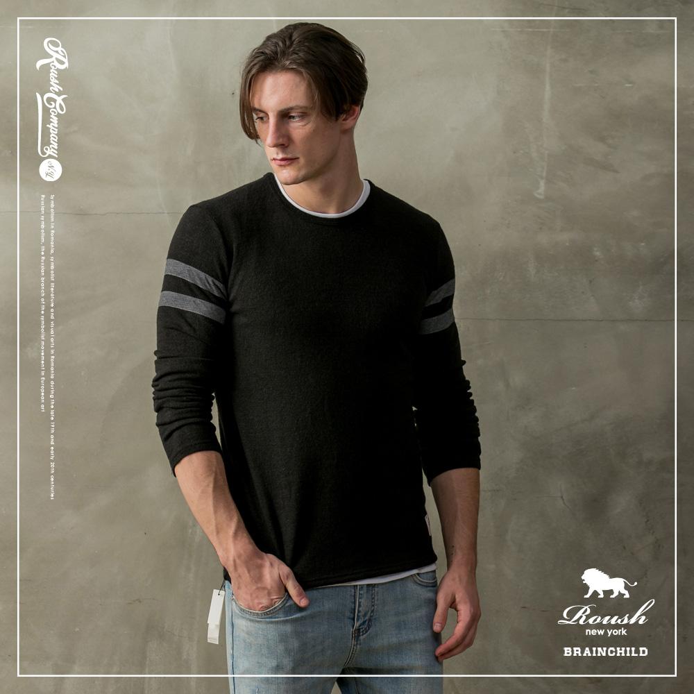 Roush (SLIM FIT)雙肩配色針織毛衣(2色)
