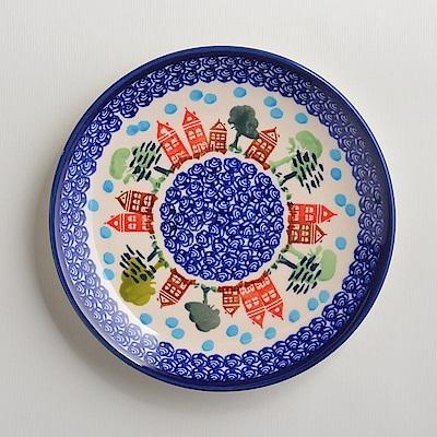 波蘭陶手工製 浪漫美屋 淺底圓形餐盤19cm