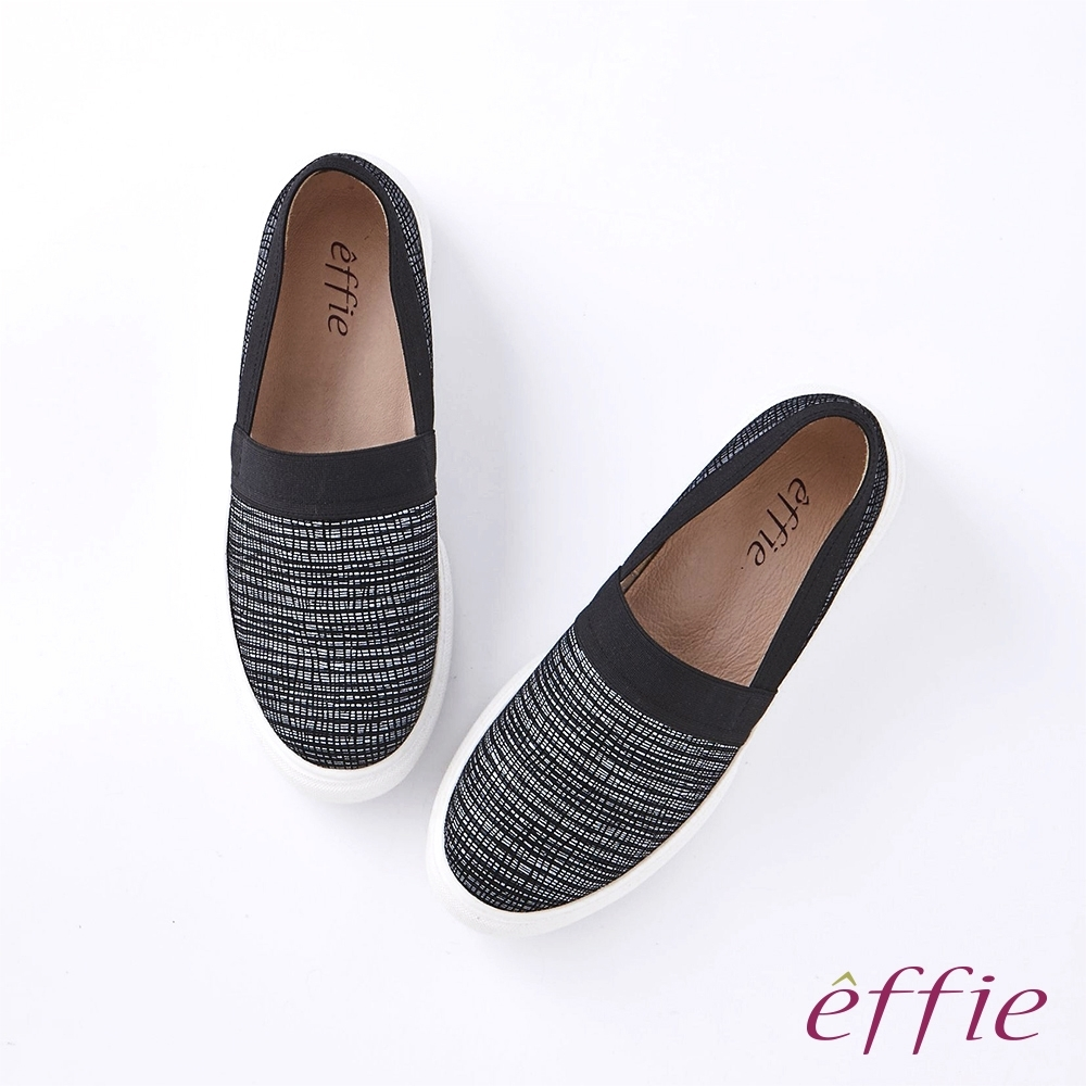 【新品】effie 細格印花鬆緊帶套入式休閒鞋-黑(網獨款)