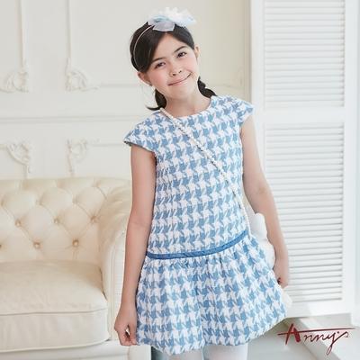 Annys安妮公主-精緻千鳥格紋秋冬款花苞裙襬洋裝*8614水藍