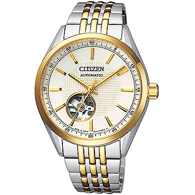 CITIZEN 星辰紳士時尚開芯機械腕錶(NH9114-81P)-金