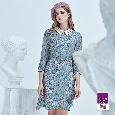 ILEY伊蕾 緞面配色縷空繩股蕾絲洋裝(藍)
