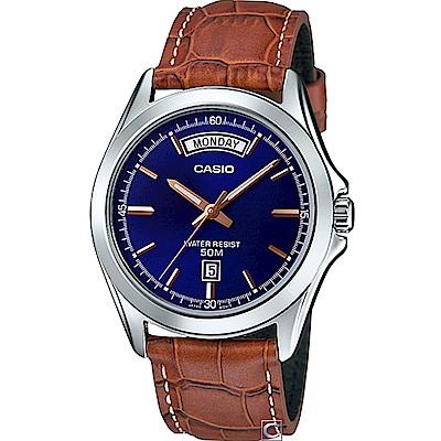 CASIO  俐落型男時尚腕錶(MTP-1370D-2A)咖啡皮/39.8mm