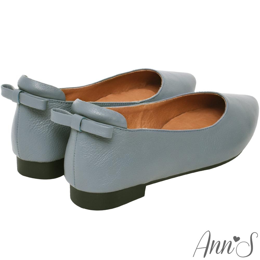 Ann'S再讓我睡一下就好-後跟小蝴蝶結真皮平底鞋-沉默藍
