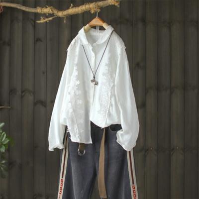 立體鈎花寬鬆娃娃領長袖襯衫純棉白上衣-設計所在