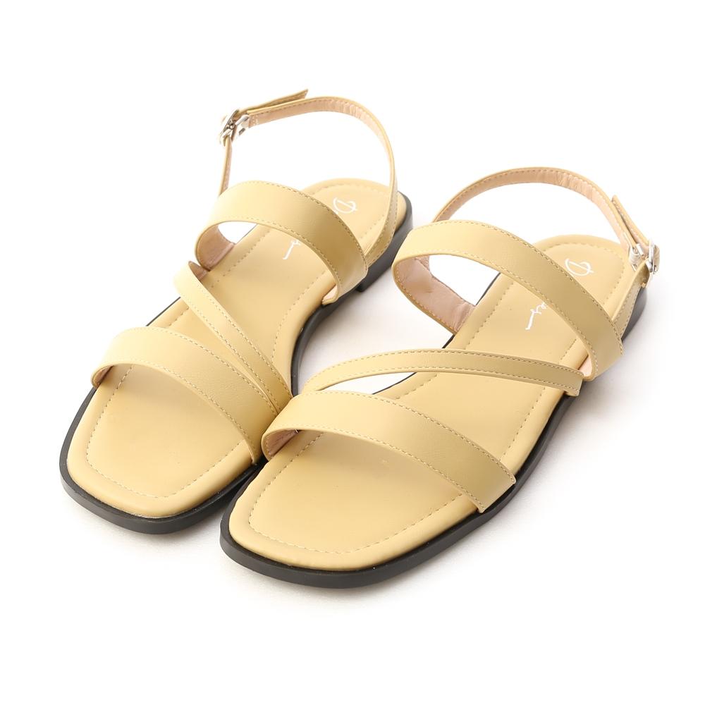 D+AF 夏氛首選.一字斜帶方頭平底涼鞋*黃