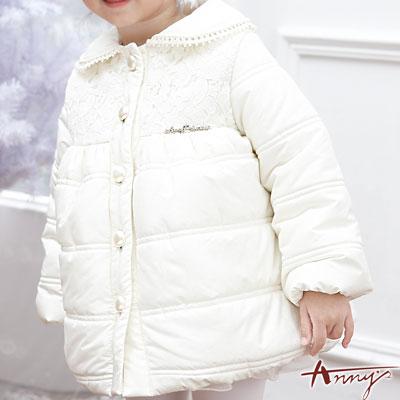 Anny甜美蕾絲貝殼釦鋪棉外套*5688米白