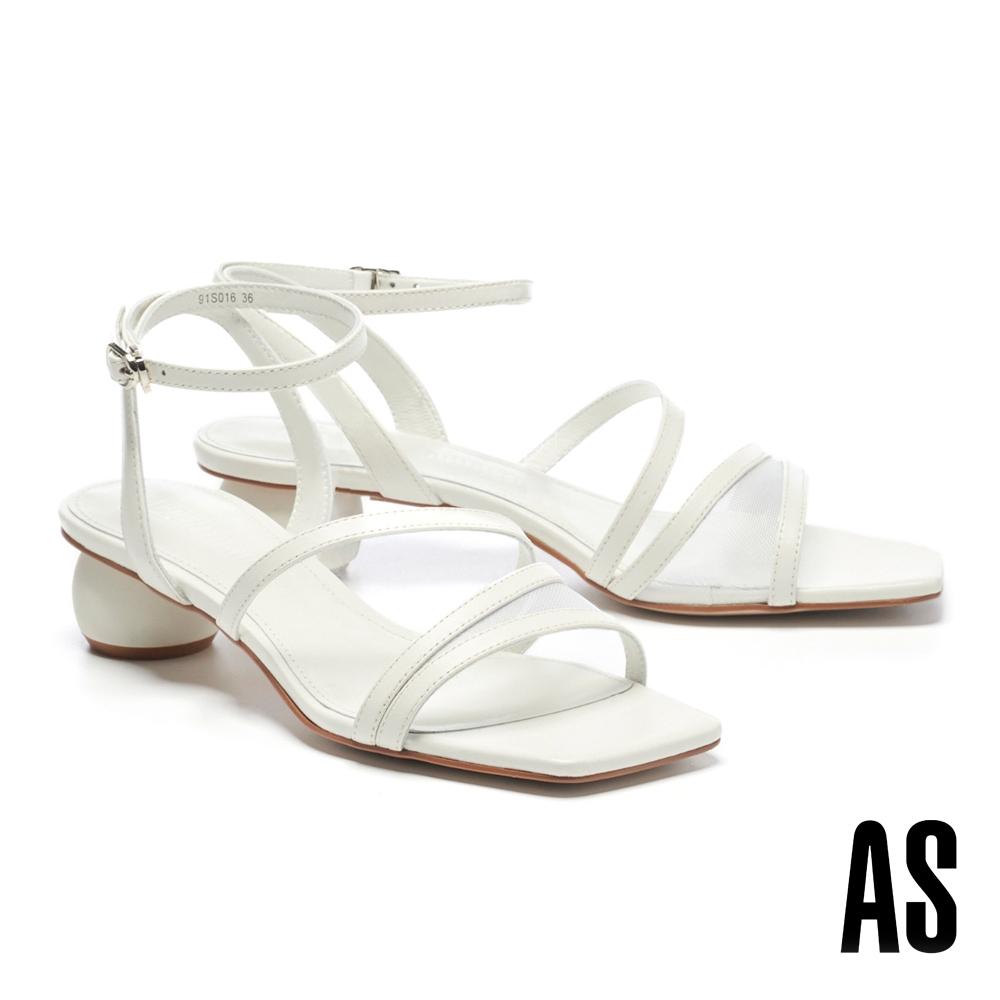 涼鞋 AS 微透視覺網紗簍空繫帶造型羊皮方頭低跟涼鞋-白