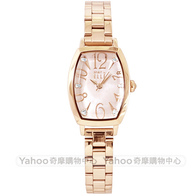 ELLE 閃耀晶鑽時尚手錶-珍珠貝X玫瑰金框/22mm