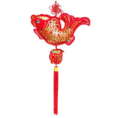 摩達客 農曆春節新年元宵-絨金刺繡亮片#35魚福單串流蘇吊飾/掛飾