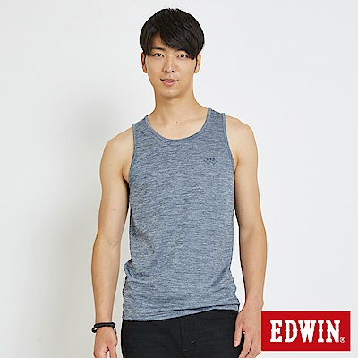 EDWIN 涼感圓領LOGO背心-男-丈青